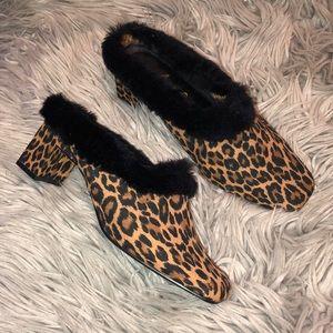 Vtg 90s leopard furry mule slip on shoes 7.5 8